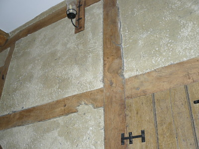 Image of lime plastered infill panels.